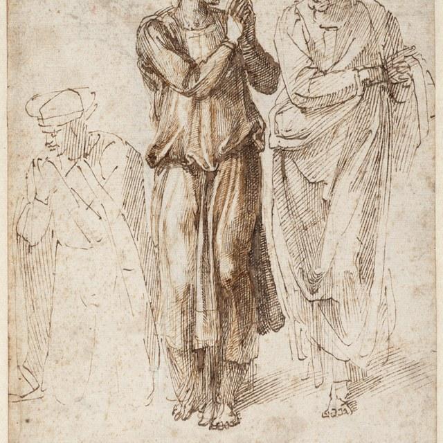 Drie gekleede figuren, de handen gevouwen, linker figuur geknield, de anderen staand