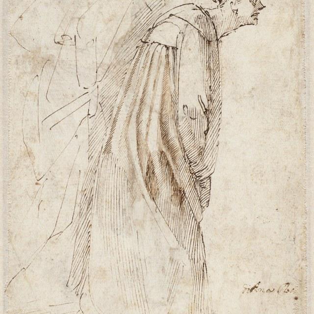 Twee figuren in mantel naar voren buigend, en profil naar rechts.