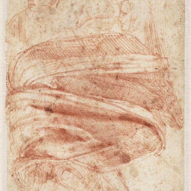 Studie van buigende vrouw, vijf hoofden (naar Giotto)
