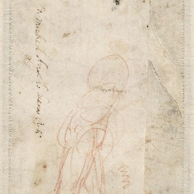 Schets van een figuur naar rechts lopend, zonder hoofd.