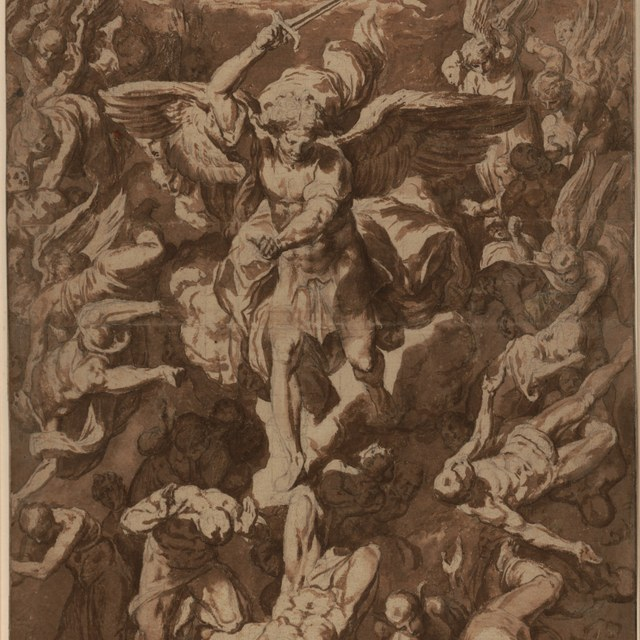 Michaël en de engelen bestraffen de verdoemden