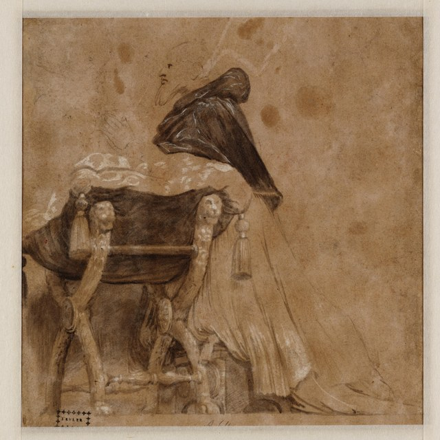 Paus Julius II, in gebed geknield