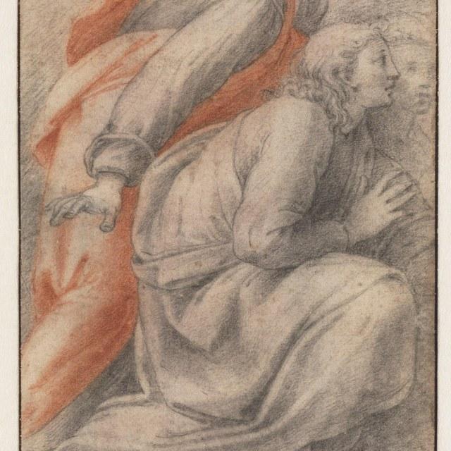 Drie knielende mannen, naar rechts (Disputa)