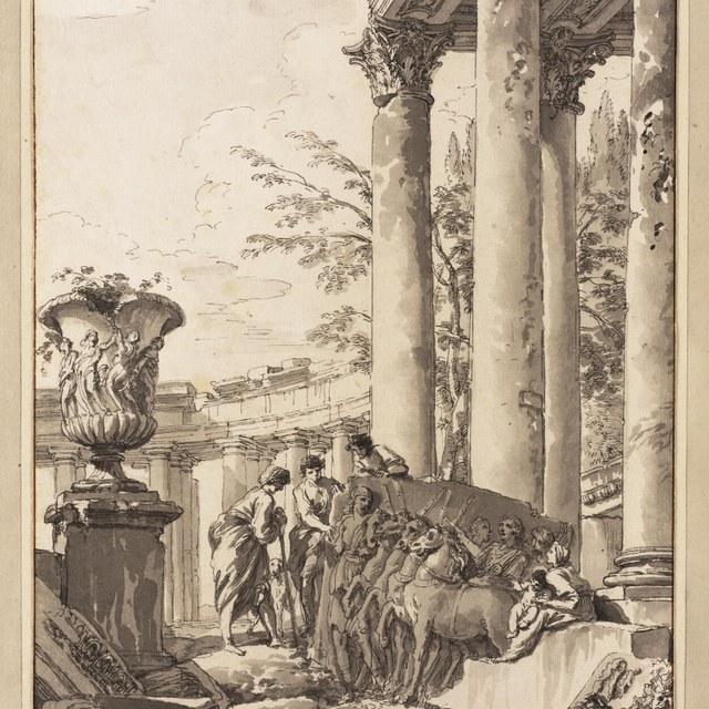 Figuren temidden van Romeinse ruïnes bij reliëf