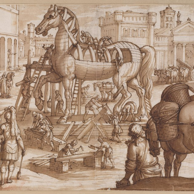 The building of the wooden Trojan Horse