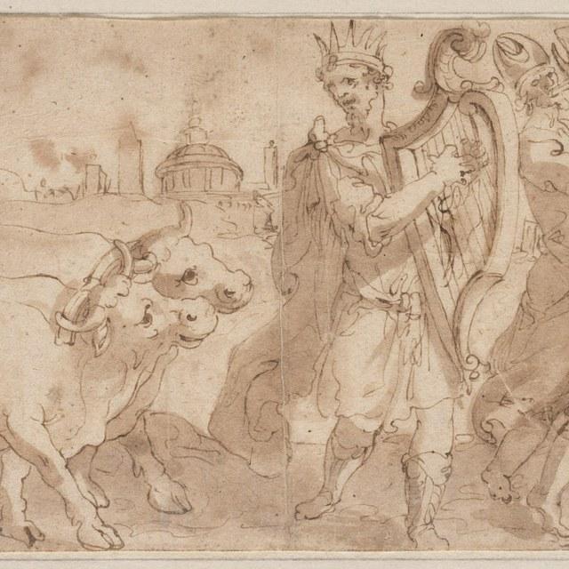 David met harp, dansend voor de Ark