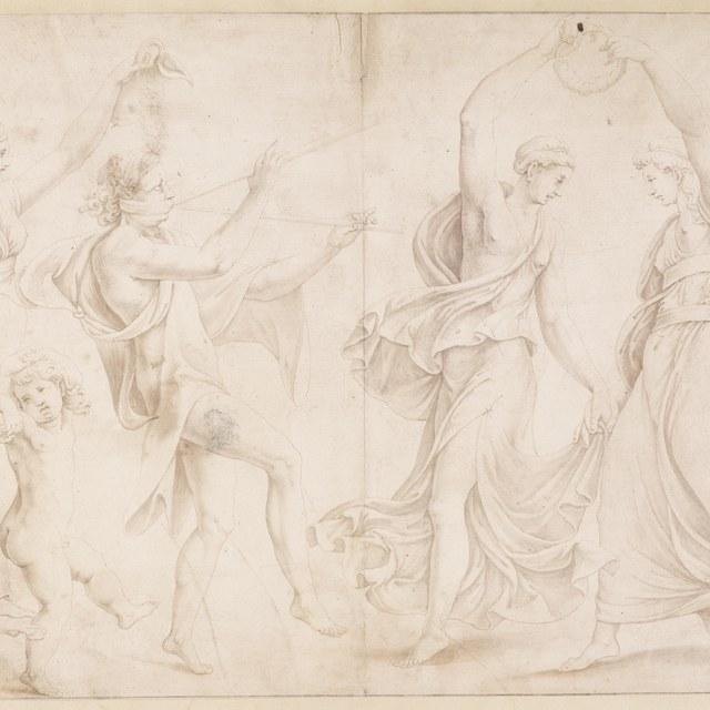 Pan en Arcus met dansende nimfen