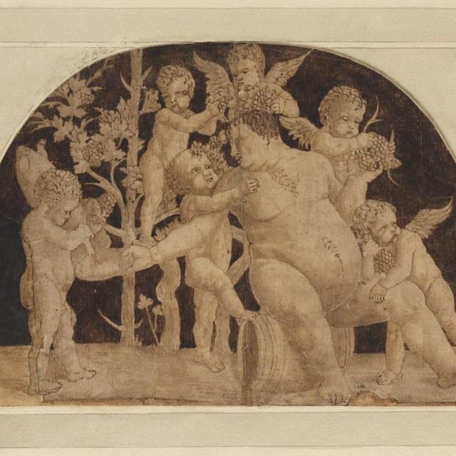 Bacchus of Silenus op wijnvat, omgeven door Eroten