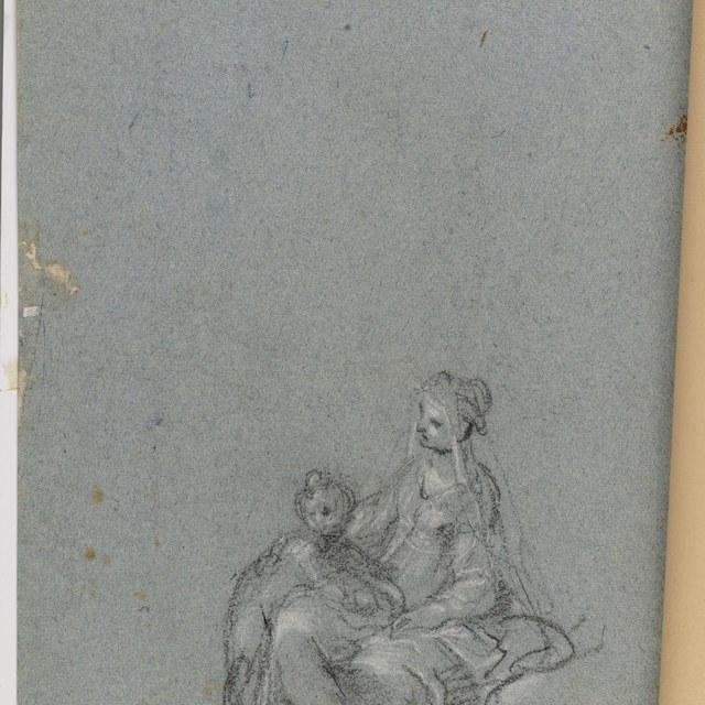 Zittende vrouw en staand kind