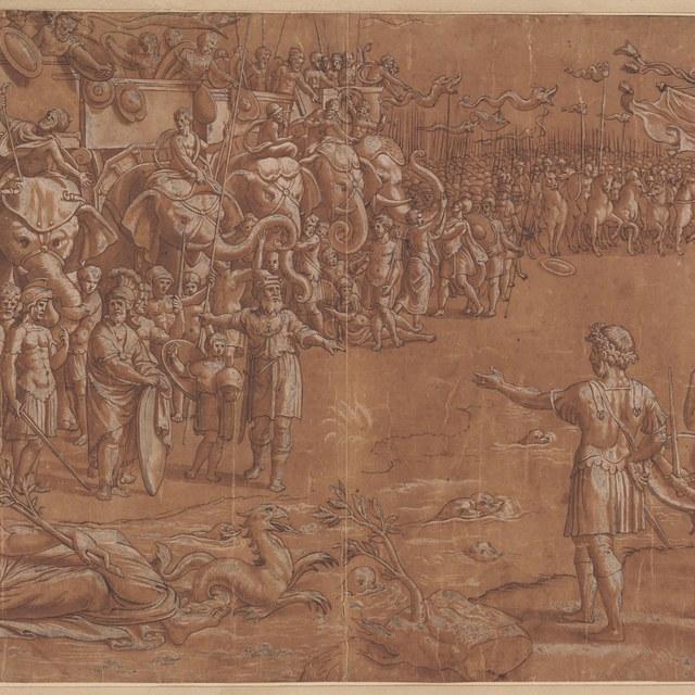 Ontmoeting van Scipio en Hannibal voor de slag bij Zama