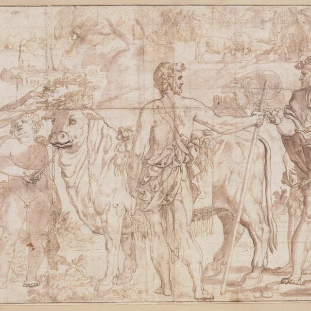 Bekransing van een stier door diverse figuren