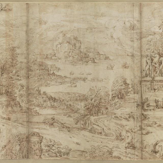 Weids kustlandschap met de Dioscuren