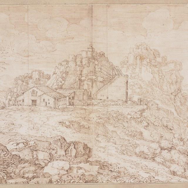 Landschap met Hubertus-kapel op bergtop