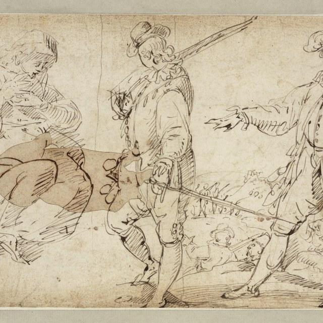 Twee staande soldaten, een zittende vrouw