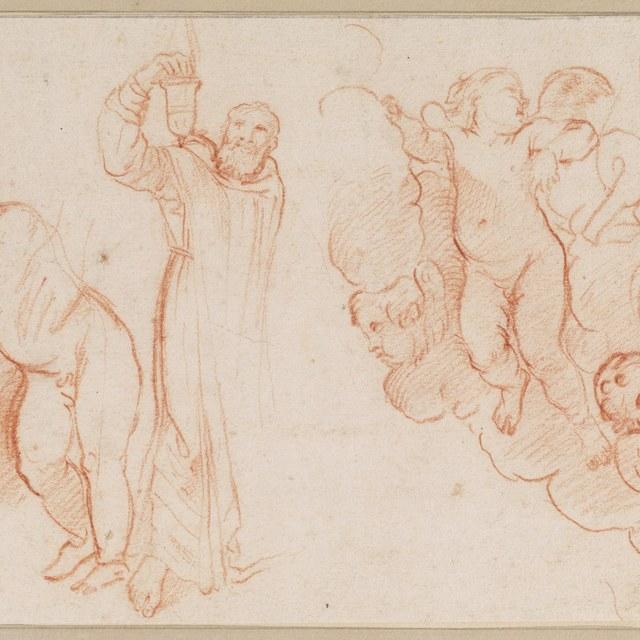 Staande putto; priester; verschillende engelen