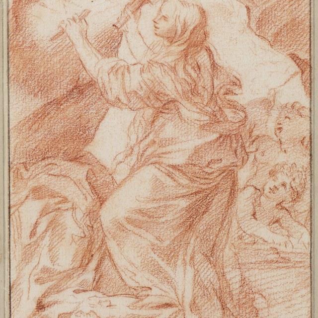 De heilige Rosalia van Palermo beitelt haar geloften in de rotswand