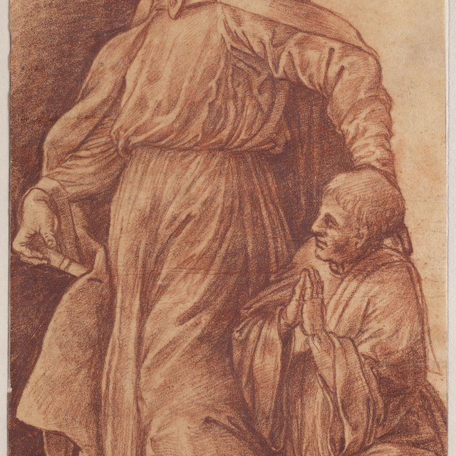 Staande heilige bisschop en een geknielde geestelijke
