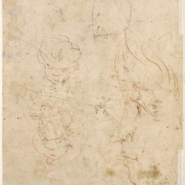 Kinderkop in profiel naar links; schetsen van kopjes