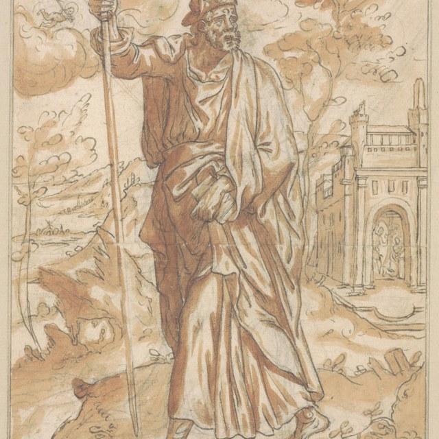 Jacobus Major, met pelgrimsstaf, in een landschap