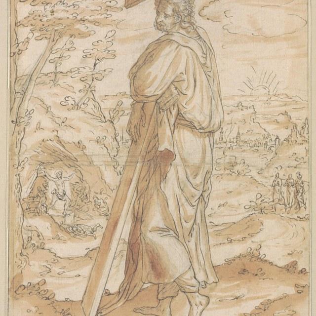Heilige (Andreas?) met kruis, in landschap
