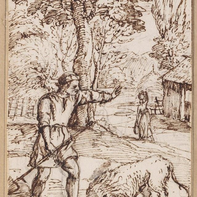Een tuinder en een leeuw