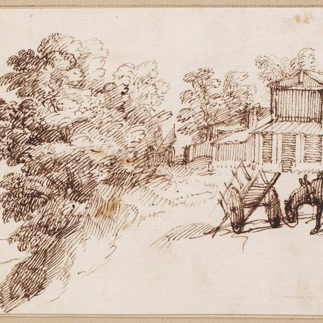 Boerderij en uitgespannen paard bij wagen