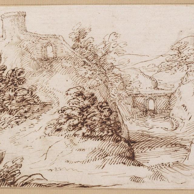 Rivierdal met poortje op heuvel links
