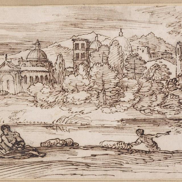 Rivier met badende figuren en een stad