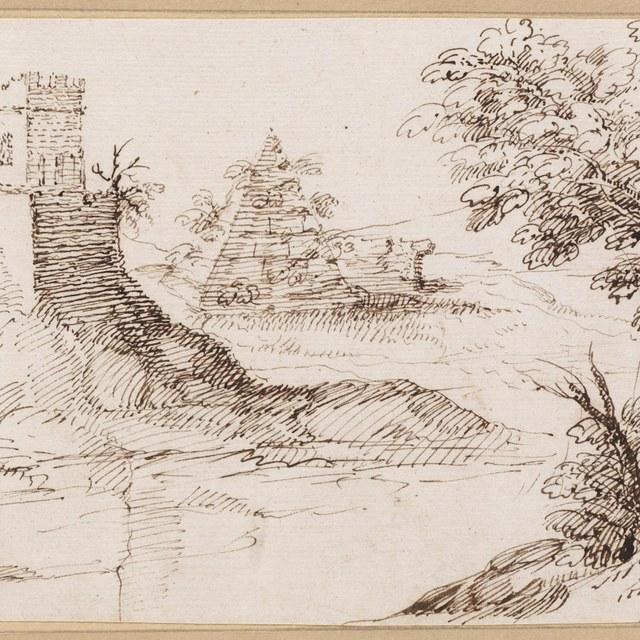 Vierkante toren en piramide bij rivier