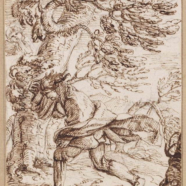 Man in bos, vluchtend voor een storm