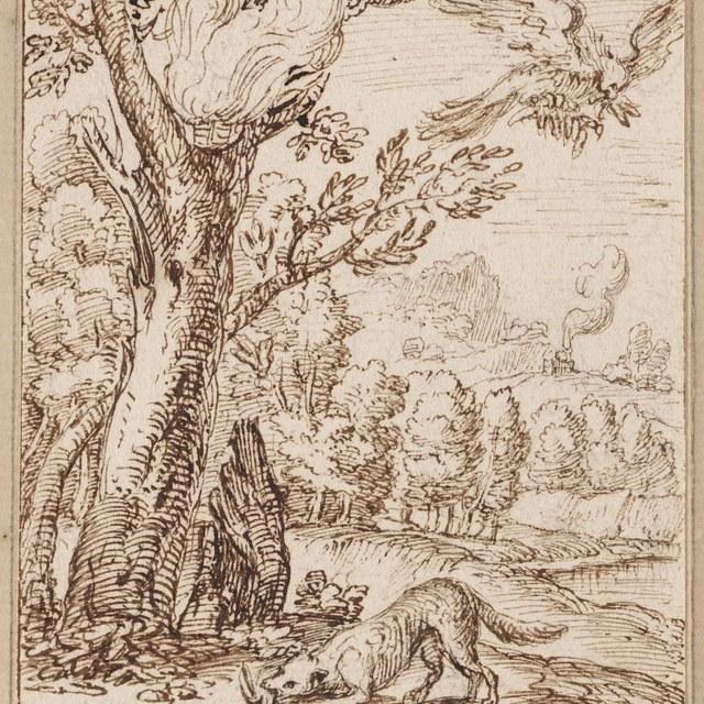 Een vos eet een vogel op in een bos