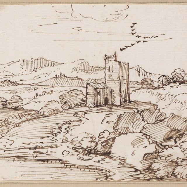 Verlaten toren in een landschap met een vlucht vogels
