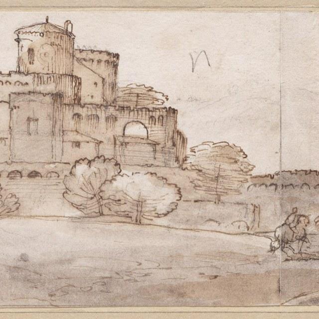 Ruiter bij een kasteel