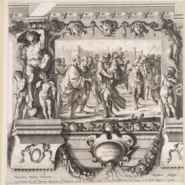 Romulus geeft de overwinningsbuit op koning Acron aan Iupiter Feretrius