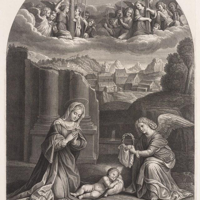 Maria aanbidt het kindeke Jezus