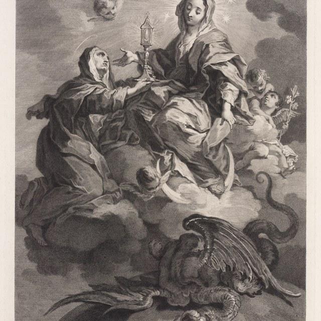 St. Clara op wolken omgeven door engelen