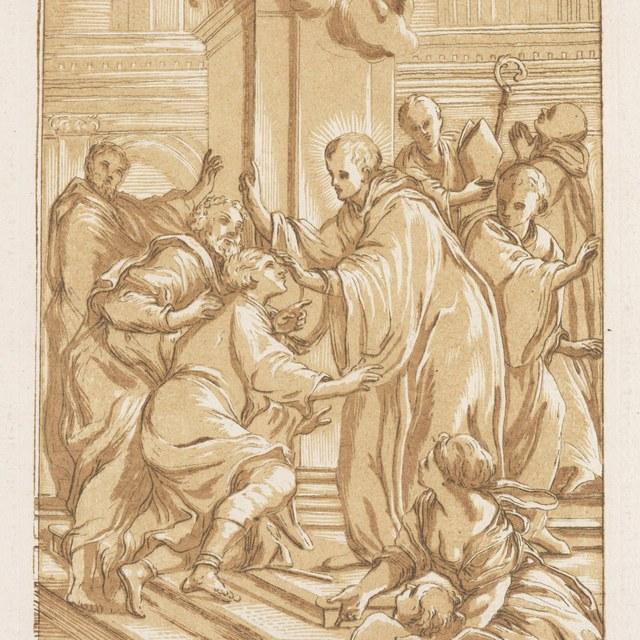 Een heilige abt geneest een blinde
