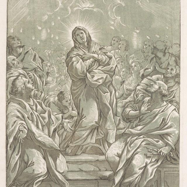 De heilige geest daalt neer boven de Apostelen