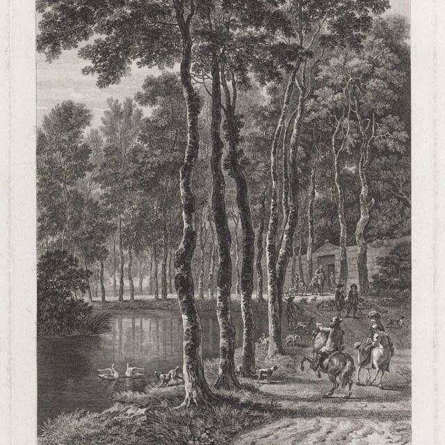 Boslandschap met jachttafereel