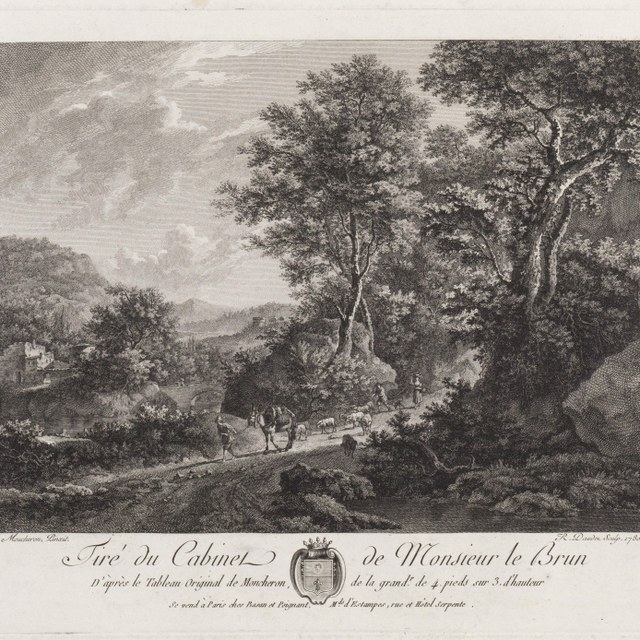 Boslandschap met figuren en vee op bospad