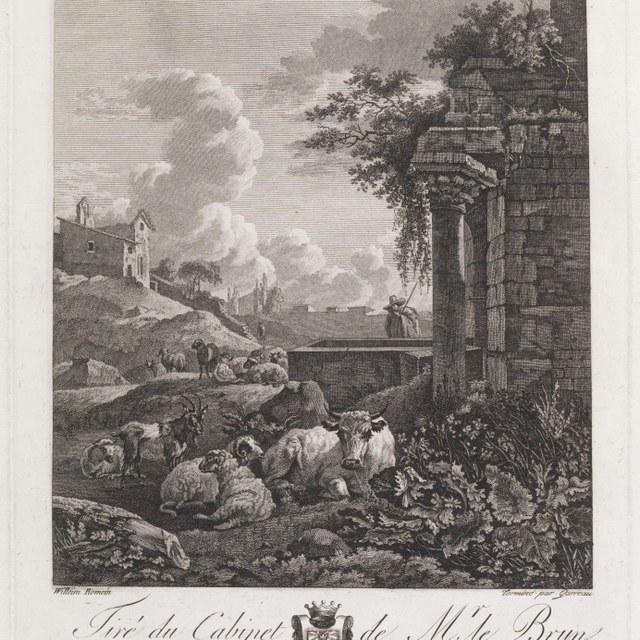 landschap met vee naast ruïne