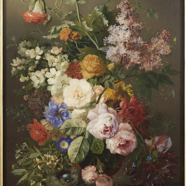 Still life with flowers and a bird's nest