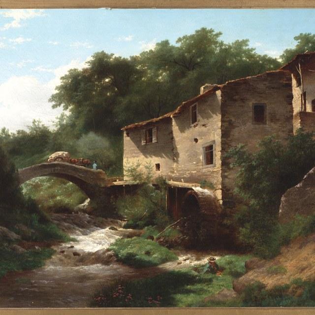 Landschap met watermolen en stenen brug