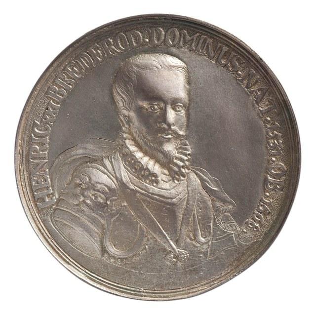 """""""Hendrik van Brederode, Heer van Vianen, aanbieder van het smeekschrift der edelen aan landvoogdes Margaretha van Oostenrijk; rond 1700 gemaakt op initiatief van de verzamelaar Andries Schoenmaker."""""""