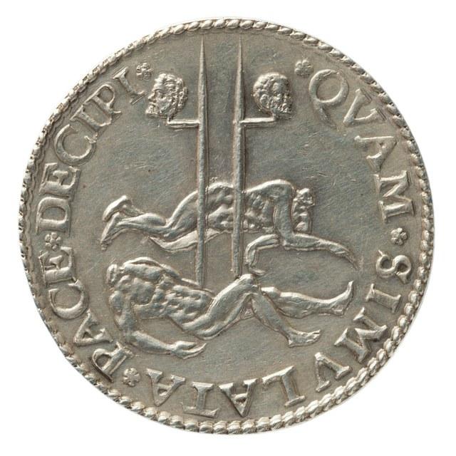 Rekenpenning als oproep tot voortzetting van de strijd tegen de Spanjaarden en herdenking onthoofding graven Egmond en Horne (1568).