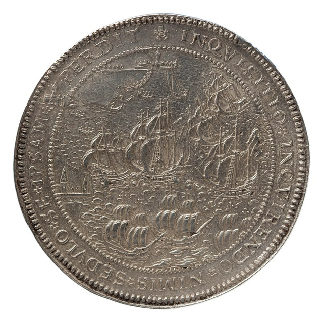 Overwinning van Don Juan, opperbevelhebber der Spaanse vloot, bij Lepanto op de Turken behaald, met Utrechtse titel van koning Philips II.