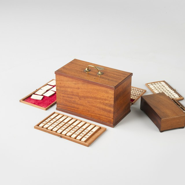 Cabinet with microscope slides; twelve drawers