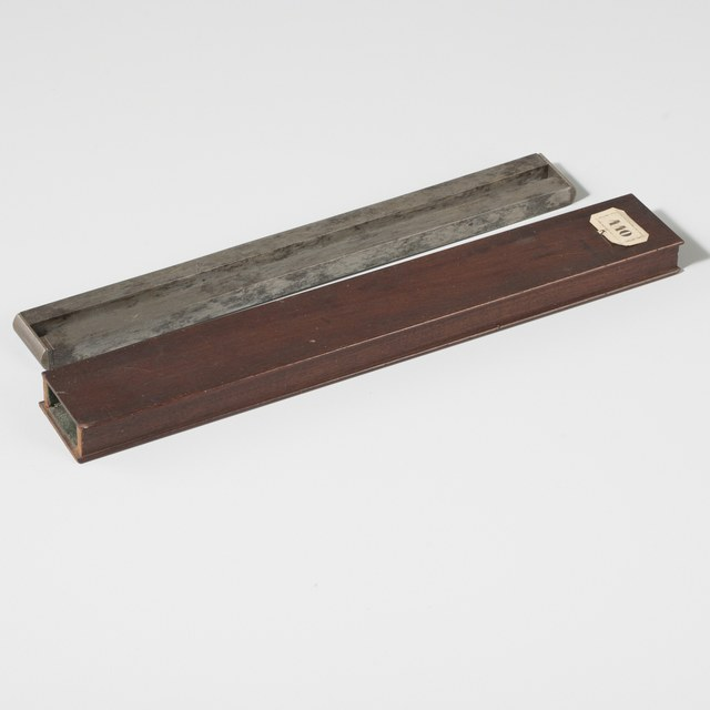 Two bar magnets in mahogany box