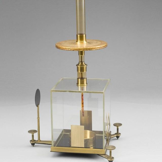 Gold leaf electroscope, after Péclet