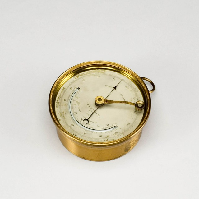 French aneroid metal barometer after Vidie, with mercury thermometer
